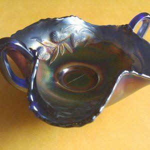 Vintage Fenton Amethyst Carnival Glass Bonbon Dish